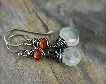 Moonstone and Sunstone Gemstone Earrings.  Oxidized Sterling Silver and Fine Silver Earrings. Moonstone Dangle Earrings. Sunstone Earrings