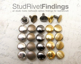 High Quality IRON 100sets 6mm Double Caps FLAT Round  Rapid Rivets Studs