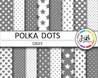Polka Dots Digital Paper, Gray, Gray and White, Dots, Hearts, Stars, Digital Paper, Digital Download, Scrapbook Paper, Digital Paper Pack