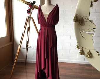 Montecito Burgundy TULIP HEM CUT Octopus Convertible Wrap Gown- Converts to Strapless, Backless, Grecian, etc