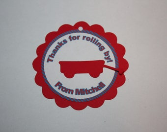 12 Little Red Wagon Die Cut - Favor Tags - Gift Tags - Thank you Tags
