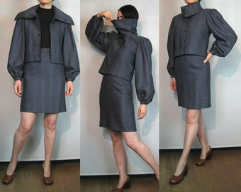 80s Salvatore FERRAGAMO Herringbone Tweed Wool Two Piece Set