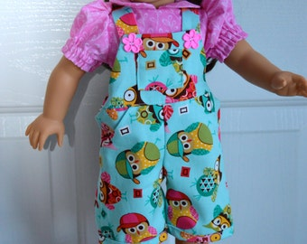 18 Inch Doll Clothes Pink Short Sleeve Blouse and Turquoise Owl Print Overall/Jumpsuit by SEWSWEETDAISY