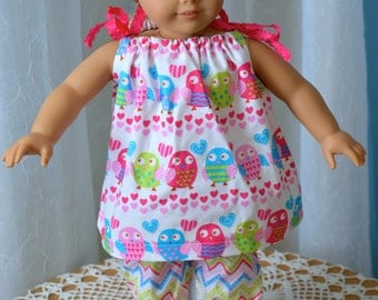 18 Inch Doll Clothes, Two Piece Pajama Set by SEWSWEETDAISY