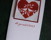 all you need is love...Valentine Card, handprinted lovebirds in Red, Beatles quote...