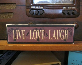 Live Love Laugh with Crow Primitive Rustic Wooden Sign Block Shelf Sitter