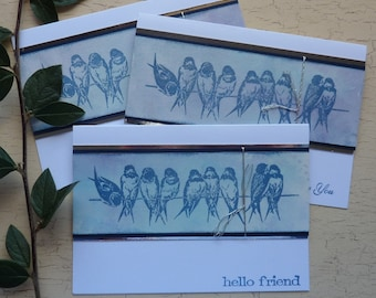 GREETINGS CARDS /  notecards ( pack of 3 ,  diff designs ) .  ' Birds on a Wire ' . UK seller..ready to ship .....