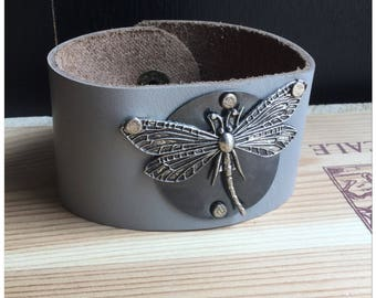 Dragonfly Leather Cuff Bracelet
