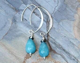 Blue Quartz Earrings, Turquoise Blue Earrings, Sterling Silver Earrings, Natural Stone Earrings, Handmade Earrings, Teardrop Earrings
