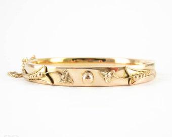 Art Deco 9 Carat Gold Bangle Bracelet, Beaded Floral & Ivy Design Gold Bangle. Fully Hallmarked, 1920s.