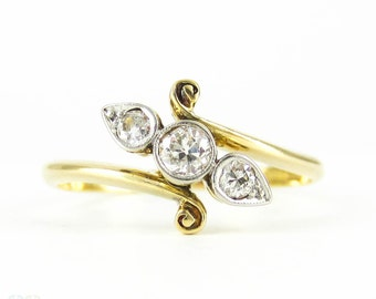 Antique Old Mine Cut Diamond Ring, Three Stone Round & Pear Shaped Bypass Design. Circa 1900, 18ct Plat.