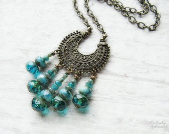 OCEAN MOON .:. Bohemian Moon Vintage Brass necklace with picasso czech glass, ornate filigree crescent moon, long chain