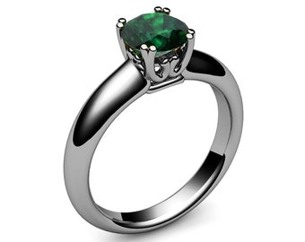 Emerald Ring Engagement Ring Chatham Emerald Solitaire Ring golden May Birthstone