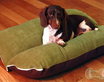 Sage Green Plush Fleece Bunbed Dog bed for Dachshunds, Small Dog Bed, Burrow Bed, Dachshund Bed, Bun Bed