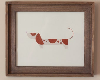 Chocolate Piebald Dappled Dachshund Art Print 8 x 10, Modern Dog Print, Art Print, 8 x 10, Nursery Art, Dachshund Art, Dog Art Print