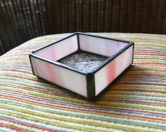 Stained Glass Jewelry Box in Light Pink & Clear Glass
