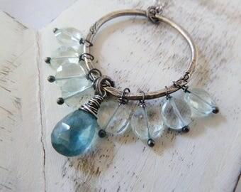 Aquamarine necklace. Teal blue moss Aquamarine. Clear Aquamarine. March birthstone. Birthstone jewelry. birthstone. Pisces. Aquamarine