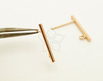 SV-214-RG / 4 Pcs - Simple Stick Stud Earring Findings, Minimalist Bar Post Studs, Rose Gold Plated 925 Sterling Silver / 17mm