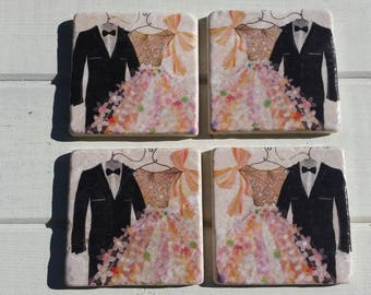 Prom Ball Dance Coaster Set of 4 Tea Coffee Beer Coasters