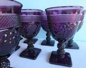 Vintage Purple Wine Glasses - Stemware - Purple Grape Glasses - Set of 7