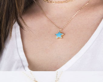Star shaped necklace etsy gemstone star necklace gold gemstone star necklace lucky star necklace friendship necklace mozeypictures Image collections