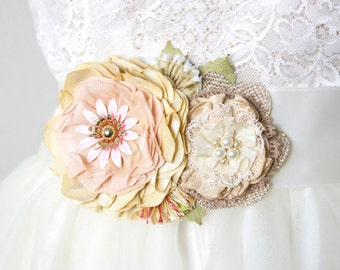 Bridal Sash, Floral Wedding Belt, Country Wedding Dress Sash, Rustic Wedding, Yellow Flower Sash, Pink Sash, Colorful Sash, Fabric Flowers