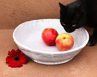 White Pottery Bowl, Earthenware Serving Bowl, Ceramic Fruit Bowl, Slab Built, Pinched, Large Hand Built Bowl, Coiled, White Kitchen Decor.