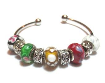 Pandora-Style Charm Bracelet, Multi-color Lampwork Bead Bangle, Rhinestone Rondelles, Green/Gold/Red, Eclectic Bracelet, Bling