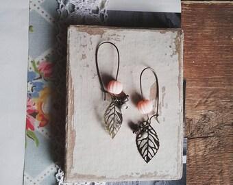 Leaf Earrings, Beaded Leaf Dangle Earrings, Filigree Leaf Jewelry, Boho, Vintage Style Jewelry for Women