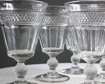 Set of Six Antique Pressed Glass Wine Goblets -- EAPG Circa 1900 Diamond Point Pattern Stemware Water Glasses - Vintage Barware Entertaining