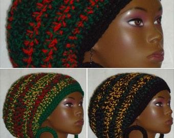 Cultural Chunky Large Crochet Tam with Drawstring and Earrings by Razonda Lee RazondaLee Locs Rasta Tam Pan-African Rasta Jamaican