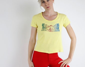 Vintage 70's Lake Tahoe souvenir t-shirt, scoop neck, small sleeves, yellow, glitter Iron-On - Small