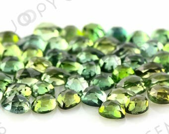 Green Tourmaline Rose Cut Cabochon 3x4mm Pear - 1 cab