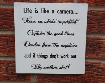 shabby chic life is like a camera inspirational marriage wedding  wooden sign plaque