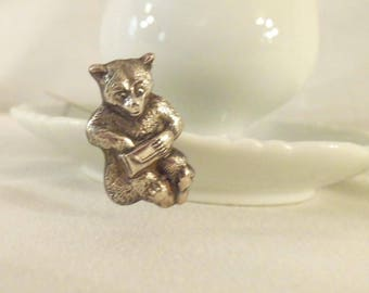 Silver Plate Antique 1910 to 1920s Hat Pin Animated Sitting Bear with Paw in a Purse