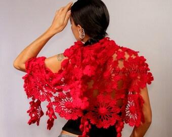 Crochet Lace Shawl, Crochet Wrap, Crochet Shawl, Crochet Triangle Scarf, Red Shawl Scarf, Flower Wrap, Women Scarf, Crochet Wear, Lace Wrap
