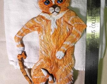 Ginger Cat original artwork Wall Hanging in sculpted clay
