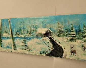 Painted Saw, Hand Painted Saw, Covered Bridge, New England Covered Bridge, Corbin Covered Bridge NH, Deer