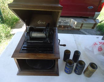 1918 Edison Amberola Model 30 Cylinder Phonograph SM-177251 + 3 Cylinders and Tin Type Photo, collectable, WORKS