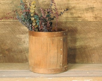 Wood Barrel, Wooden Storage Tub, Industrial Storage Bin, Round Storage Bin