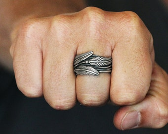 Rustic Feather Ring Oxidized Sterling Silver Mens Cool Rings