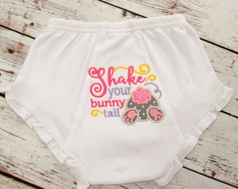 Ready to Ship - Sample Sale - Girls Ruffled Bloomer ( 6-12 Months)  - Ruffled Bloomer  - Ruffled Bloomers for Easter -  Easter Bunny Tail