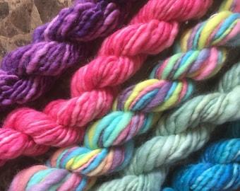 Mini Skeins handspun hand spun knitting crochet supplies wool yarn waldorf doll hair merino baby photo prop