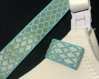 Mammary Minders Nursing Reminder in turquoise with woven metallic gold (H10)
