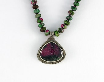 Hand Fabricated Sterling Silver Ruby in Zoisite Pendant Hand Knotted Silk Cord One of a Kind Contemporary Artisan Jewelry 25236389122816