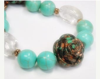 Sale| Chunky Turquoise Necklace, Statement Necklace, Turquoise Jewelry, Rose Necklace, Clear Crystal Quartz, Cowgirl, Southwest, Bohemian, B