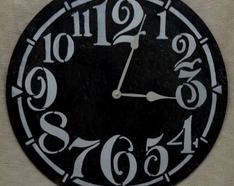 22 Inch LARGE WALL CLOCK with Funky Arabic Numbers in Black, Big Black Clock