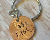 Personalized Lucky Copper Penny Key Chain with Letter Initials and Heart Around Year Wedding Anniversary