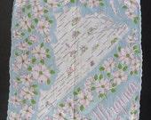 Vintage Hankie VIRGINIA State Map Souvenir Many Cities Blue Floral