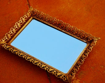 Vintage Intricate Metal Framed Mirror